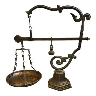 19th Century Antique Sicilian Pharmacy Scale With Bronze Base For Sale