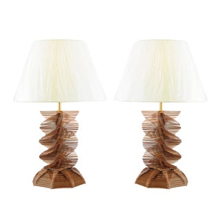 Restored Pair of Vintage Popsicle Stick Helix Lamps For Sale