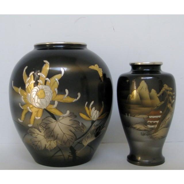 Vintage Meiji Metalwork Vases - A Pair - Image 2 of 11