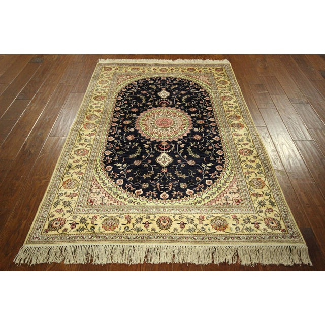 Kashan Silk Midnight Blue-Ivory Rug - 4' x 6' - Image 3 of 8