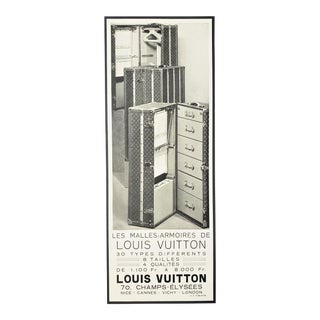 RARE-Matted French Art Deco Louis Vuitton Print -Trunks For Sale