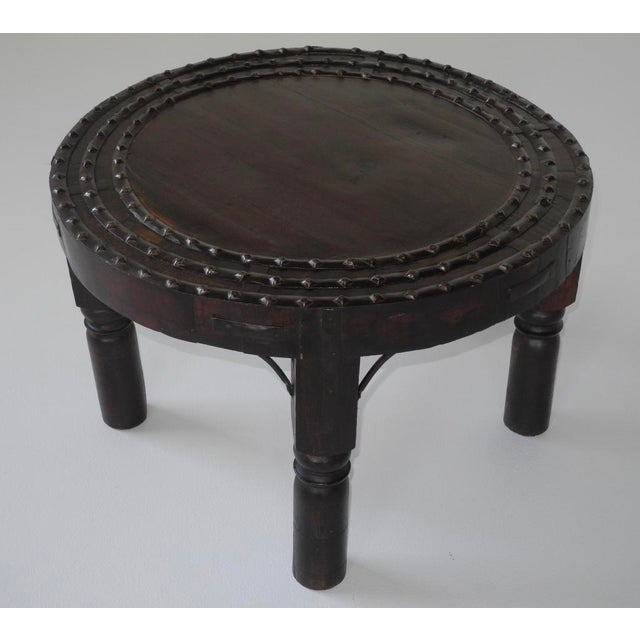 Indian asian rustic studded teak coffee table chairish for Coffee table with studs