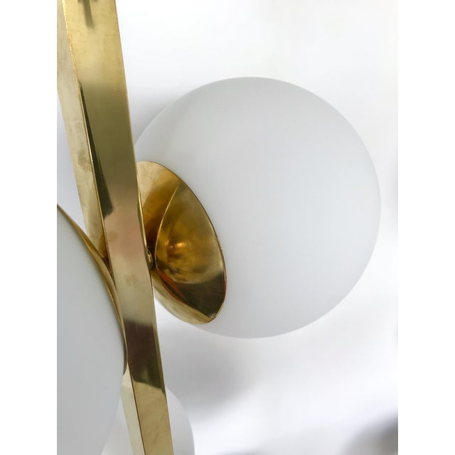 Blown Glass Contemporary Brass Floor Lamps Opaline Ball, Italy For Sale - Image 7 of 13