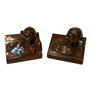1930s Art Deco Dante & Beatrice Bronze Bookends - a Pair For Sale