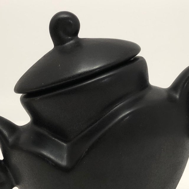 "Michael Lambert ""Java Jig"" Black Glazed Porcelain Sugar Bowl For Sale - Image 9 of 13"