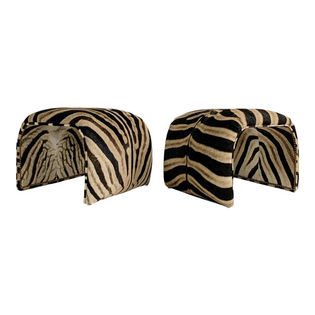 Waterfall Ottomans in Zebra Hide, Pair For Sale
