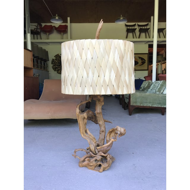 """50"""" Tall Monumental Driftwood Lamp Original Woven Shade For Sale - Image 10 of 10"""