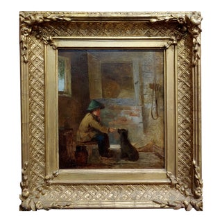 Chinese Boy With Dog - 19th Century Oil Painting For Sale