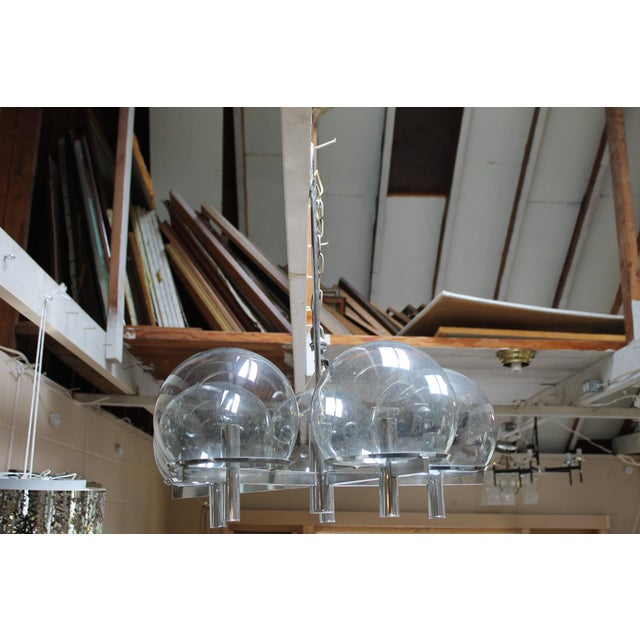 Mid-Century Modern Gaetano Sciolari Chrome & Smoked Glass Five-Arm Chandelier For Sale - Image 3 of 7