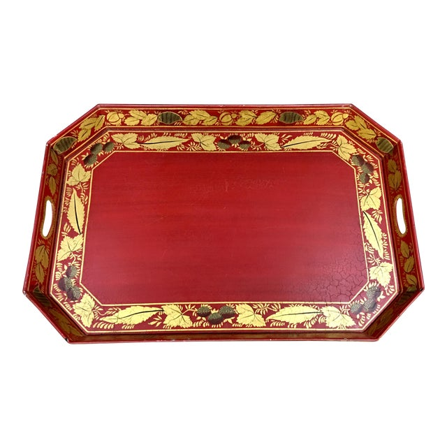 Vintage Tole Tray Red With Gold Stencil Design For Sale