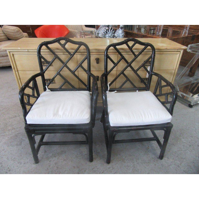 Rattan Chippendale Arm Chairs - a Pair - Image 2 of 6