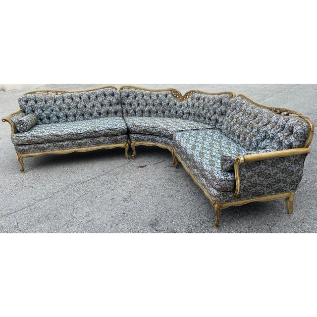 Blue Vintage Hollywood French Curved Sectional For Sale - Image 8 of 8