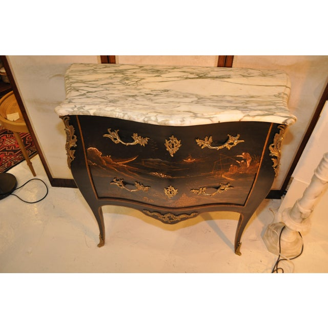 White French Louis XV Style Bombe Form Two Drawer Chest With Chinoiserie Decorations and White Marble Top For Sale - Image 8 of 13