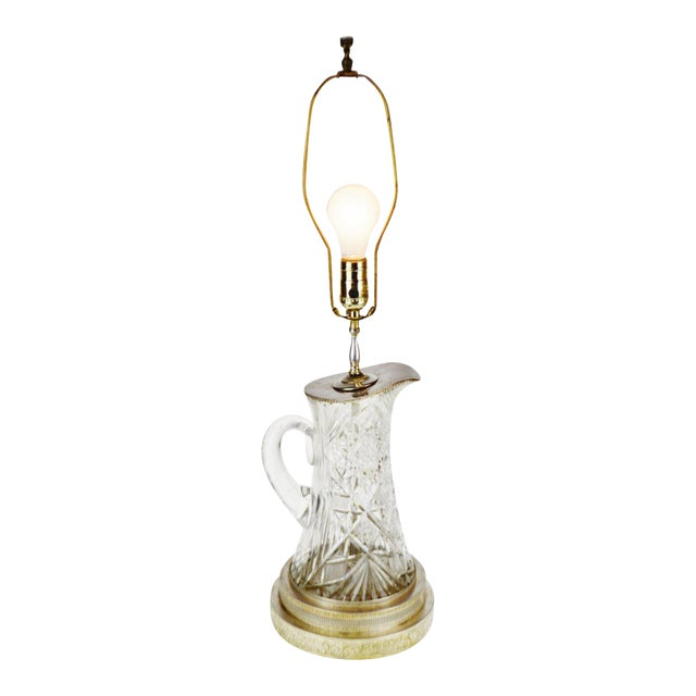 Victorian Style Cut Glass Pitcher Table Lamp For Sale