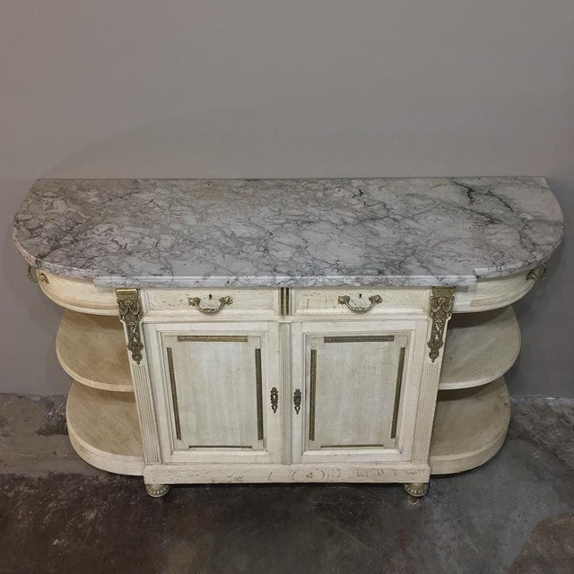 19th Century French Louis XVI Marble Top Stripped Oak Buffet With Ormolu Bronze For Sale In Baton Rouge - Image 6 of 12
