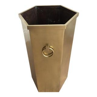 1970s Mid-Century Modern Brass Umbrella Stand For Sale