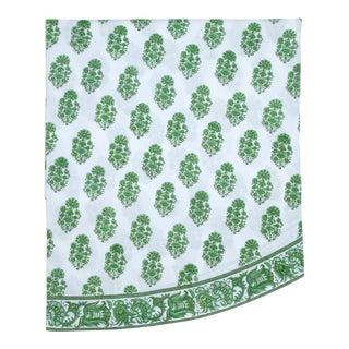 Riya Green Round Tablecloth, 120-Inch For Sale