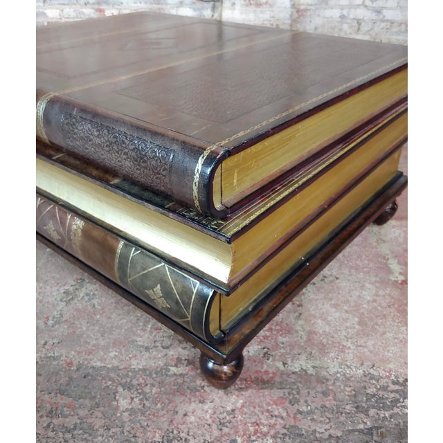 Leather Maitland-Smith Stacked Leather Books Form Coffee Table For Sale - Image 7 of 11