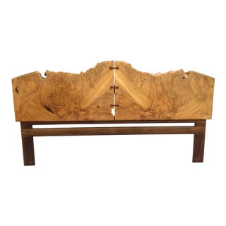 Michael Elkan King Size Burled Maple and Walnut Headboard For Sale