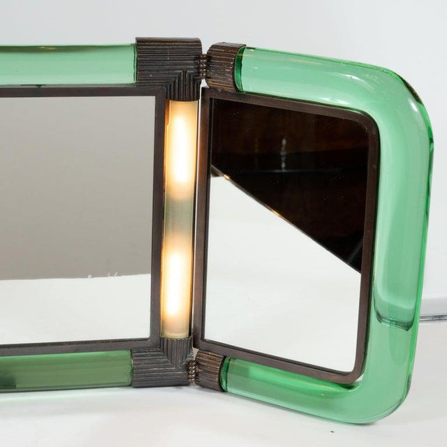 Italian Mid-Century Emerald Glass, Bronze and Glass Illuminated Vanity Mirror For Sale In New York - Image 6 of 10