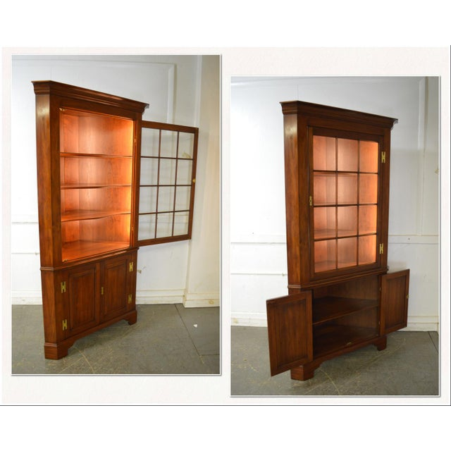 *STORE ITEM #: 17683-fwmr Henkel Harris Chippendale Style Pair of Solid Cherry 12 Pane Corner Cabinets AGE / ORIGIN:...