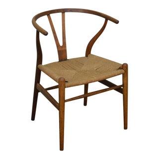 Hans Wegner Vintage Danish Modern Rush Seat Wishbone Chair For Sale