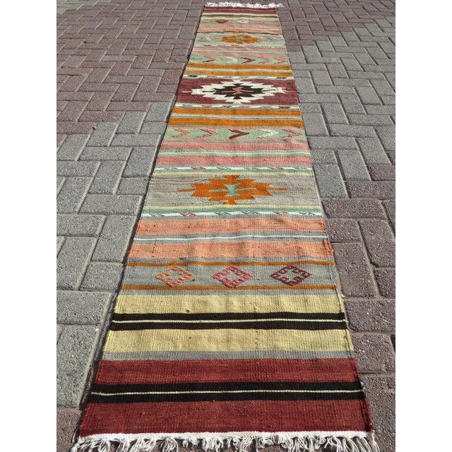 """Vintage Turkish Kilim Runner-2'x10'4"""" For Sale - Image 13 of 13"""