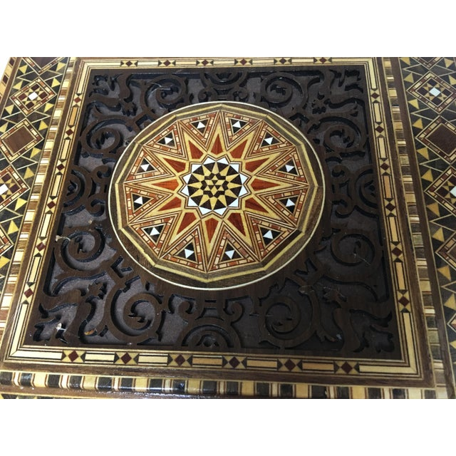 Islamic Middle Eastern Handmade Engraved Inlaid Mosaic Wooden Box For Sale - Image 3 of 9