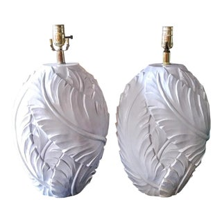 A Pair Serge Roche Style White Palm Banana Leaf Plaster Vintage Plan Beach Regency Table Lamps For Sale