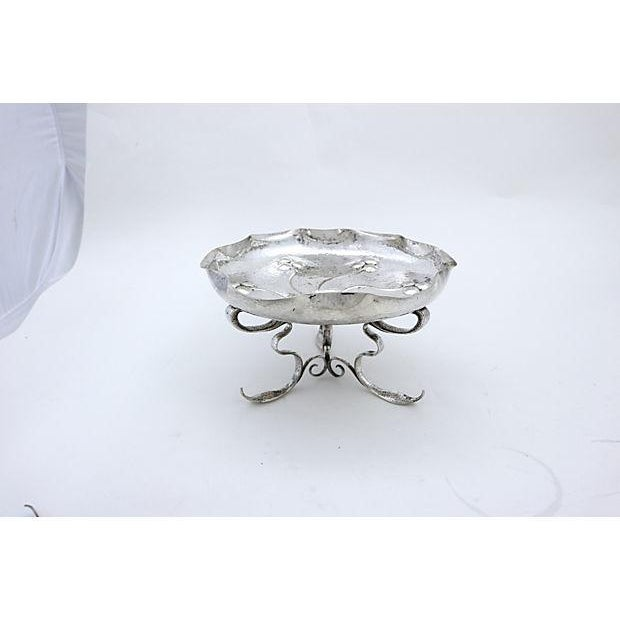English silver-plate footed serving dish. Hand-made in the Arts and Crafts style. Impressed maker's mark on underside....