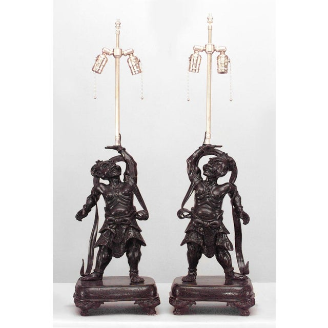 Asian Japanese Bronze Stylized Samurai Figure Table Lamps- A Pair For Sale In New York - Image 6 of 6