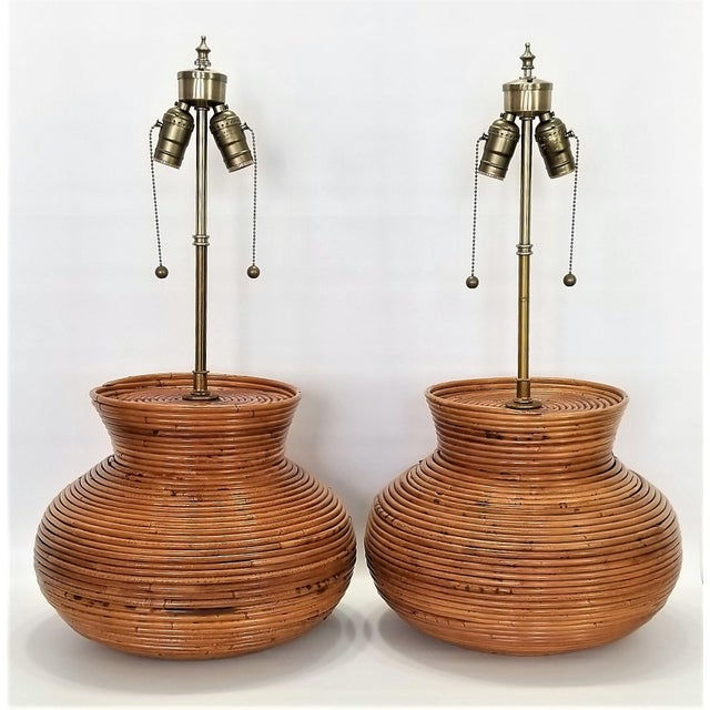 Boho Chic Gabriella Crespi Style Large Pencil Reed Table Lamps - a Pair - Restored - Mid Century Modern Palm Beach Boho Chic Wicker Rattan Seagrass For Sale - Image 3 of 13
