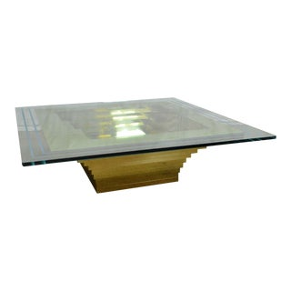 Mid-Century Modern Cityscape Stacking Brass Large Square Glass Top Coffee Table For Sale