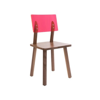 AC/BC Chair (Acrylic Back), Solid Walnut with Pink Finish Acrylic Back For Sale