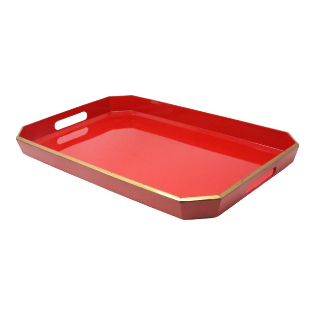 Vintage Japanese Red Lacquered Tray For Sale