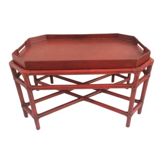 1980s Boho Chic Red Rattan Tray Coffee Table For Sale