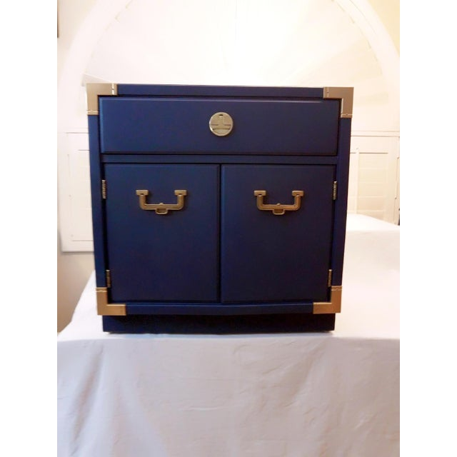 Thomasville Blue Campaign Nightstand For Sale - Image 9 of 9
