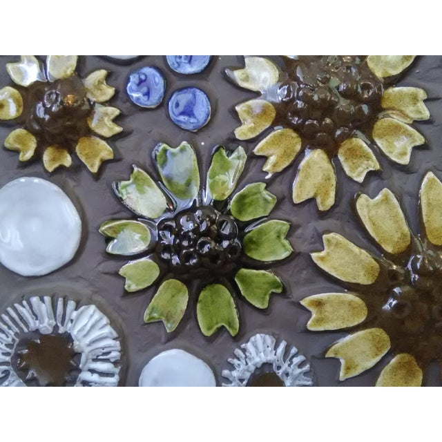 Boho Chic Mid-Century Swedish Ceramic Floral Wall Plaque For Sale - Image 3 of 6