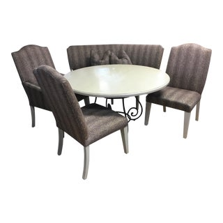Drexel Heritage Dining Set With Chairs & Banquet Seating - Set of 5 For Sale