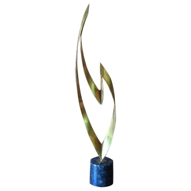 """Flame"" Brass Marble Sculpture by Curtis Jere - Image 1 of 8"