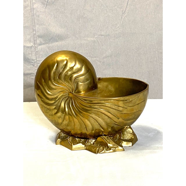 Brass Beautiful Vintage Brass Seashell Snail Shell Display Figure Sculpture W/ Base Heavy For Sale - Image 8 of 8