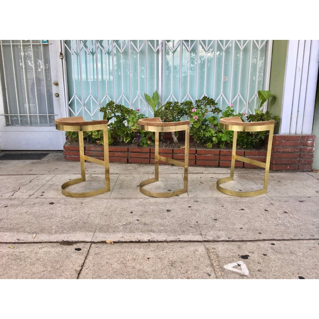 Set of 3 Vintage Brass Stools by Warren Bacon - Image 4 of 7