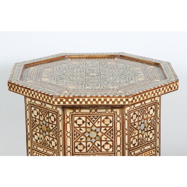 Islamic Large Pair of Syrian Octagonal Pedestal Tables For Sale - Image 3 of 9