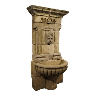 Large Carved Limestone Wall Fountain From France For Sale