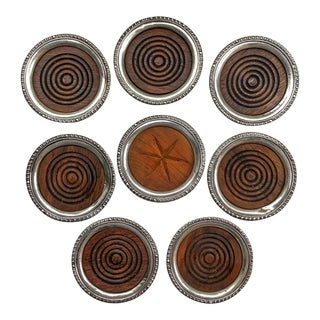 Sterling Silver Coasters Cocktails Drinks - Set of 8 For Sale