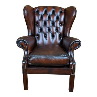 Vintage Mid-Century English Leather Chesterfield Wingback Chair, Cordovan For Sale