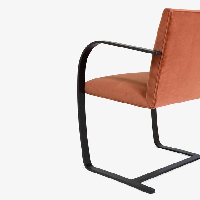 Metal Brno Flat-Bar Chairs in Rust Velvet, Obsidian Matte Frame - Set of 6 For Sale - Image 7 of 11
