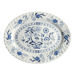 "Johnson Brothers Blue Nordic 13"" Oval Serving Platter For Sale"