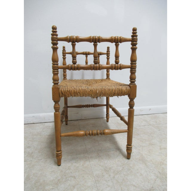 1990s Vintage Faux Bamboo French Regency U Bench Ottoman Vanity Seat Stool Rush Seat For Sale In Philadelphia - Image 6 of 11