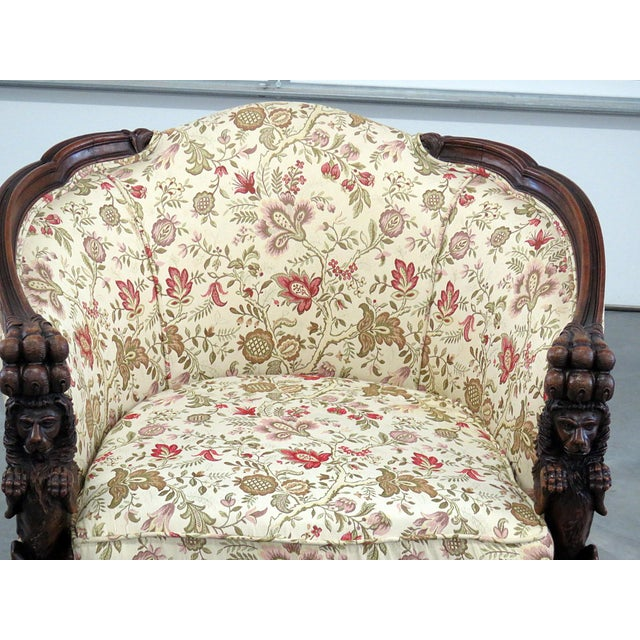 Early 20th Century Carved Victorian Bergere For Sale - Image 5 of 11